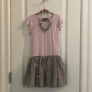 Imoga girls pink and gold fleck dress